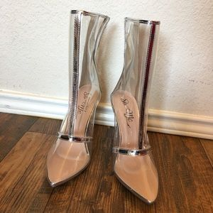 FASHION NOVA clear with silver boot/heel